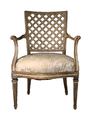 19th C French Painted Open Arm Chair