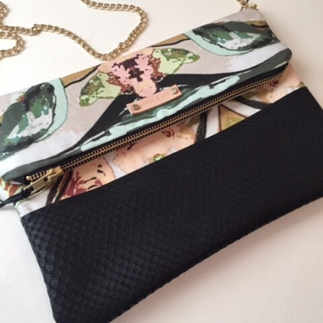 Image of Shelbie Clutch Large Black Python