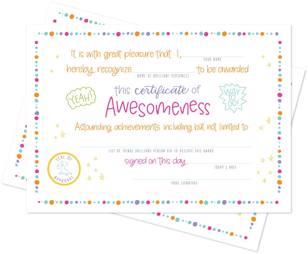 Image of Certificate of Awesomeness Postcards - Pack of 12