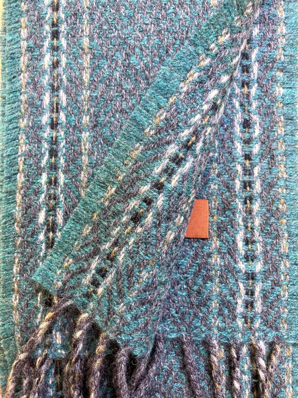 Image of Narrow Stone & Teal 'Gatsby' scarf