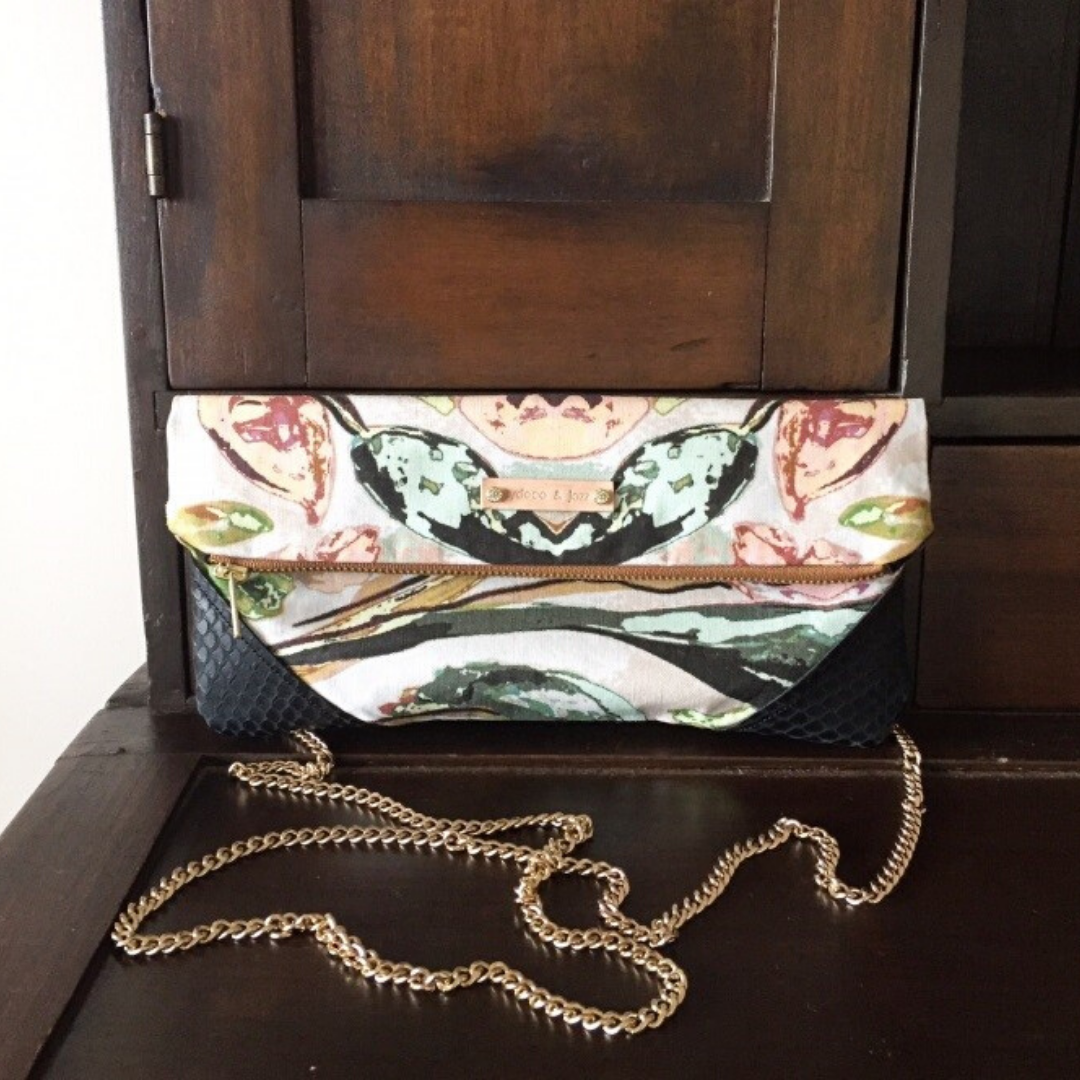 Image of Shelbie clutch in black python