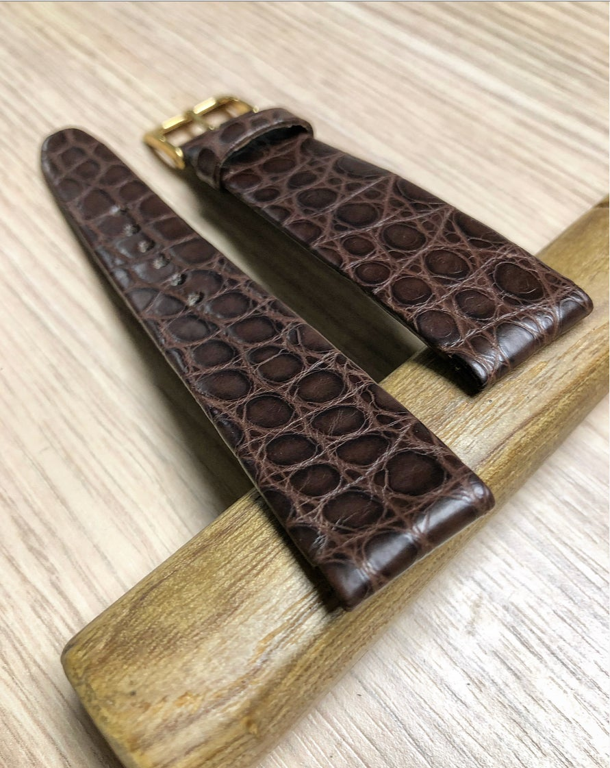 Image of Hand-rolled rembordé vintage strap - double brown