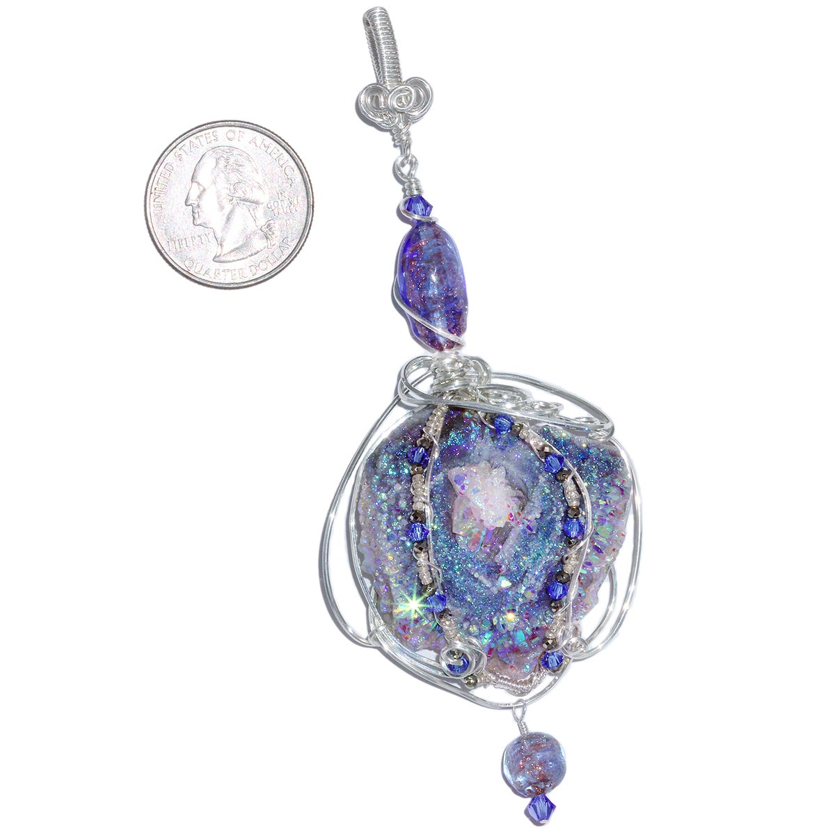 Fairy Aura Chalcedony Rosette Wire Wrapped Pendant