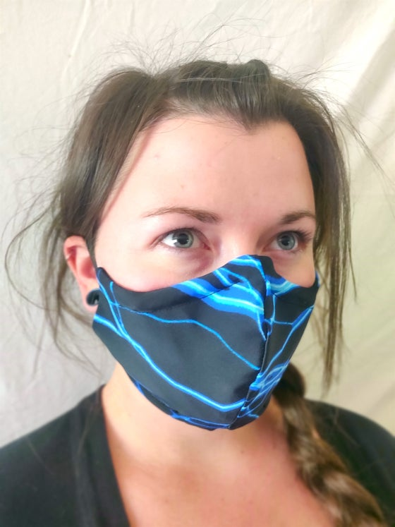 Image of Blue Lightning Cotton/Spandex Face Mask