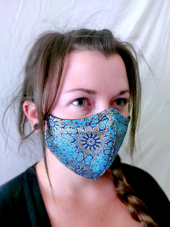 Image of Turquoise Mandala Cotton/Spandex Face Mask