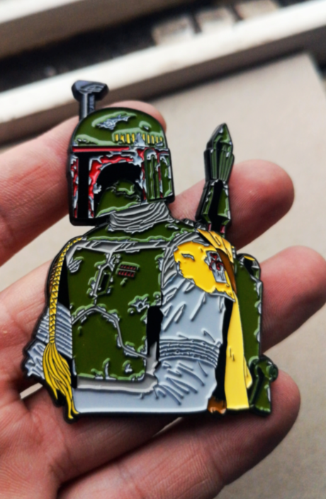"Image of Boba Fett 2.5"" Tall Bust Lapel Pin #1 in Series"