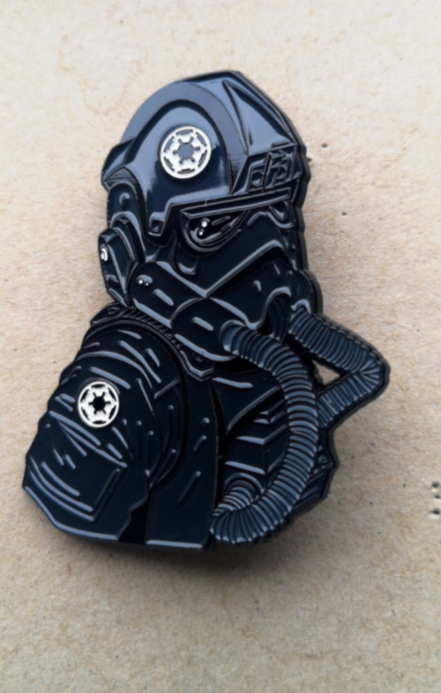 "Image of Imperial Tie Fighter Pilot 2.5"" Tall Bust Lapel Pin #3 in Series"