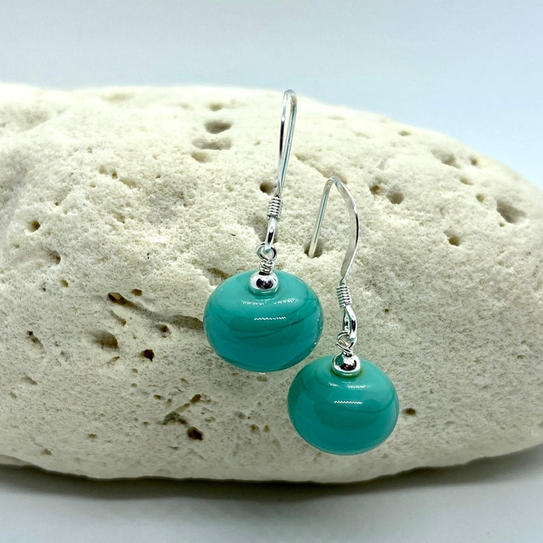 Image of Opaque Teal Single Earrings