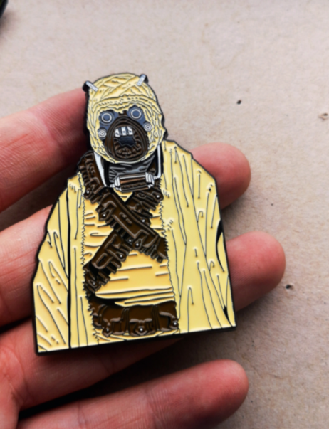 "Image of Tusken Raider Sandperson 2.5"" Tall Bust Lapel Pin #4 in Series"
