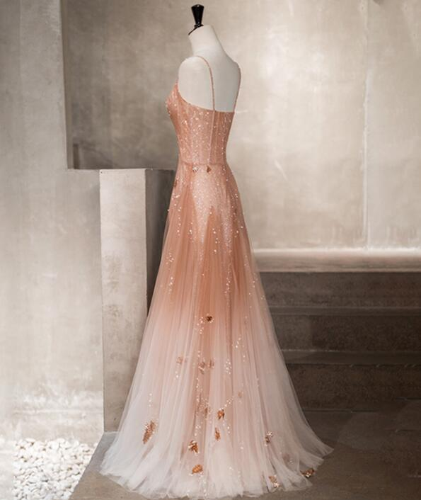 Charming Pink Gradient Tulle Beaded Long Party Dress, A-line Evening Dress