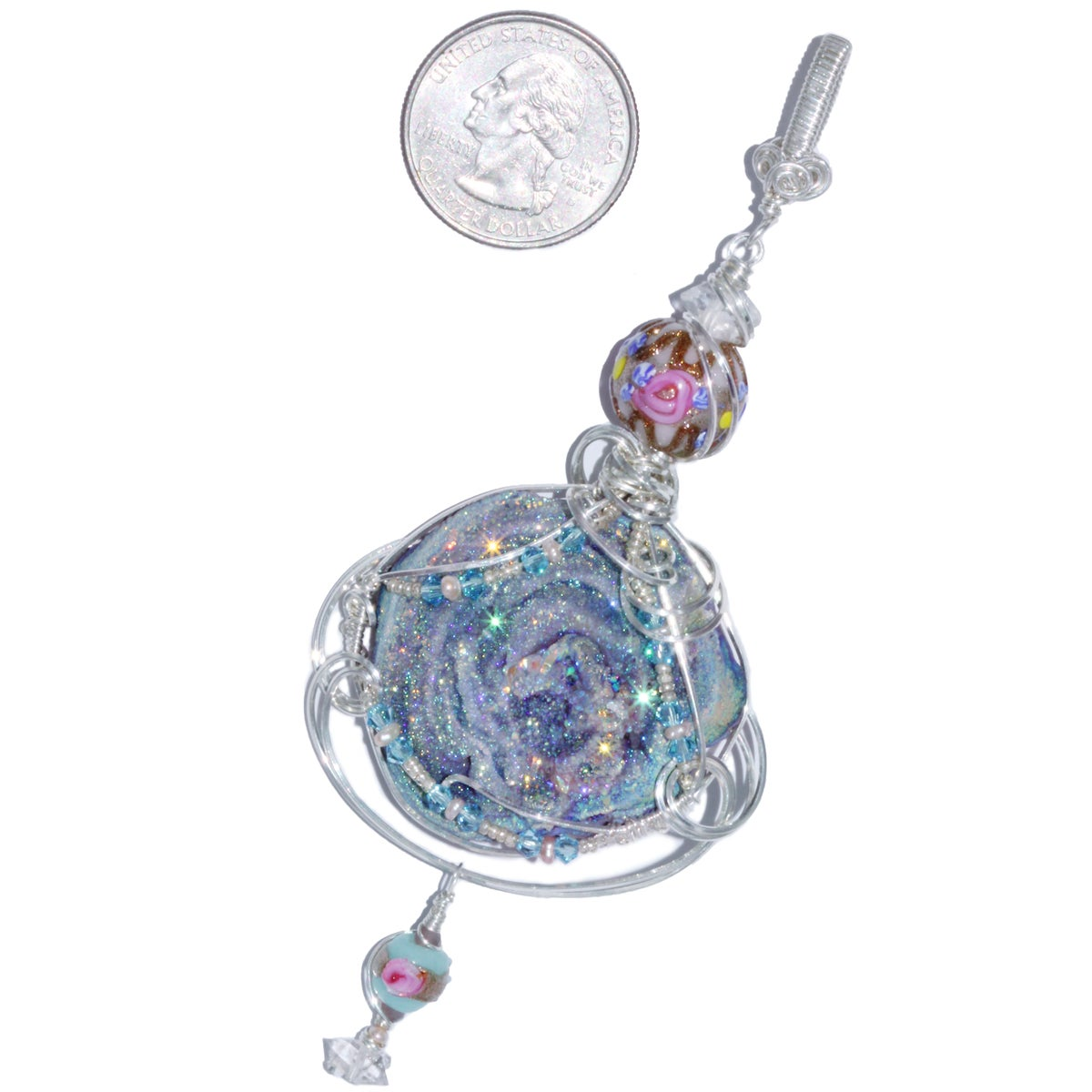 Fairy Aura Chalcedony Rosette Pendant with Wedding Cake Beads