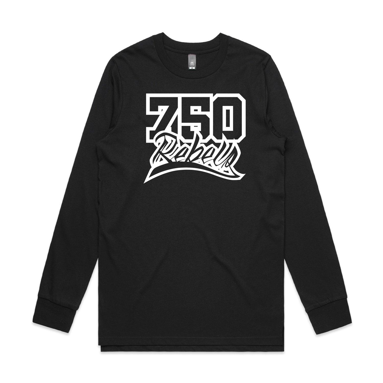 Image of 750 Rebels Black Logo Long Sleeve T-Shirt.