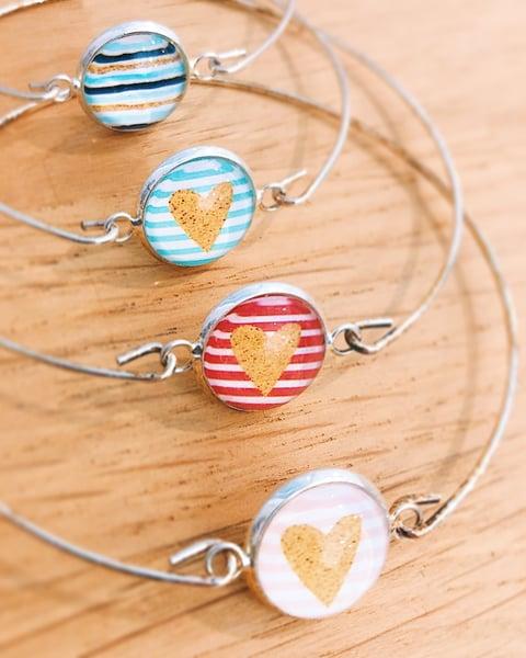 Image of Bracelet Océan Love marinière et cœur paillette