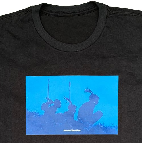 Image of Protect Your Neck Black Tee - Blue