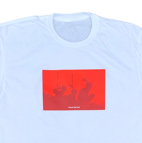 Image of Protect Your Neck White Tee - Red
