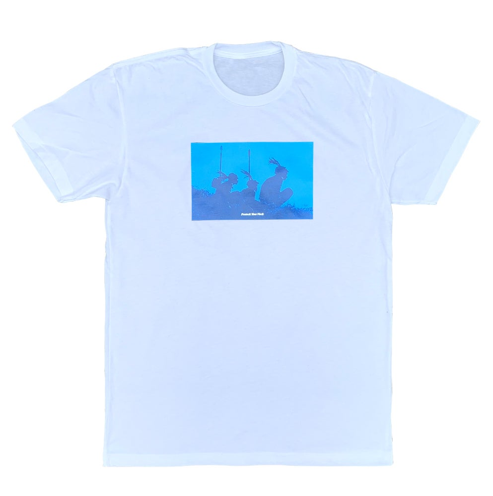 Image of Protect Your Neck White Tee - Blue