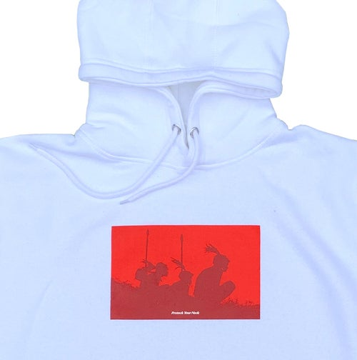 Image of Protect Your Neck White Hoodie - Red
