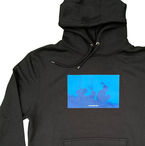 Image of Protect Your Neck Black Hoodie - Blue