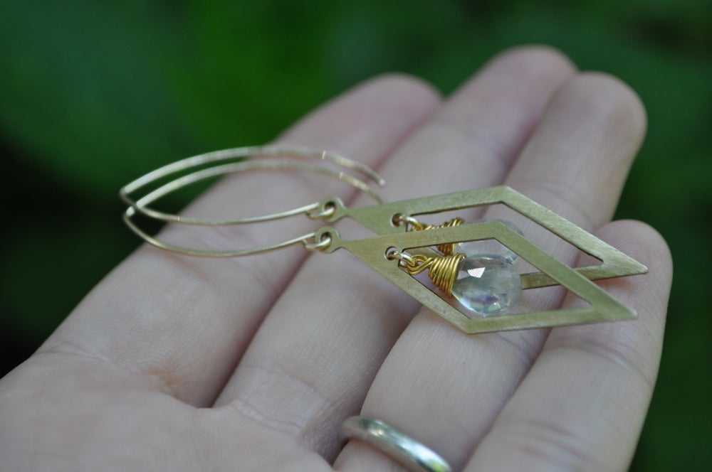 Image of Opalite in Brass Diamond Dangles