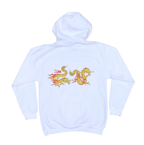 Image of Warriors White Hoodie - Yellow