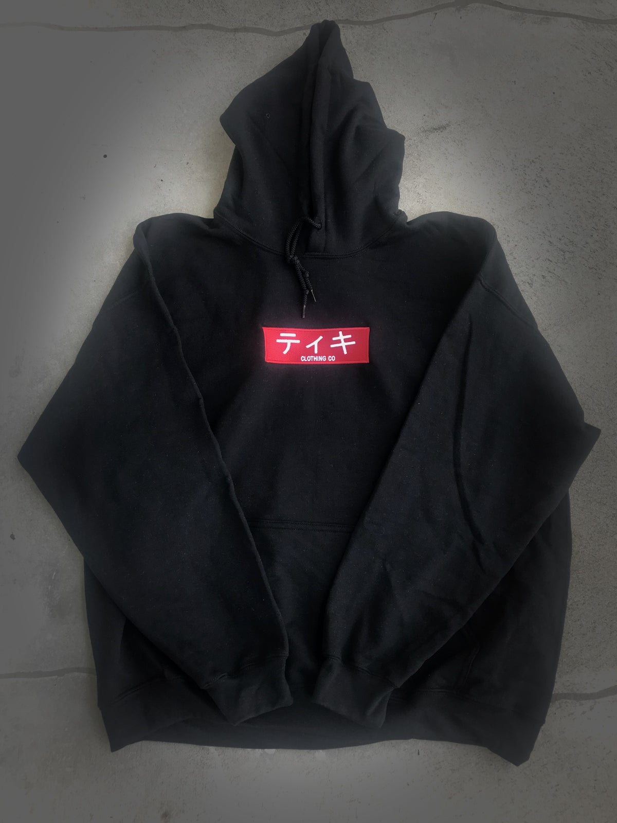 Image of TIKI CLOTHING CO Japan Box Logo Pullover Hoodie(Black)