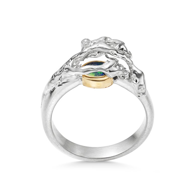 Image of Gold + Silver Caged Opal Ring