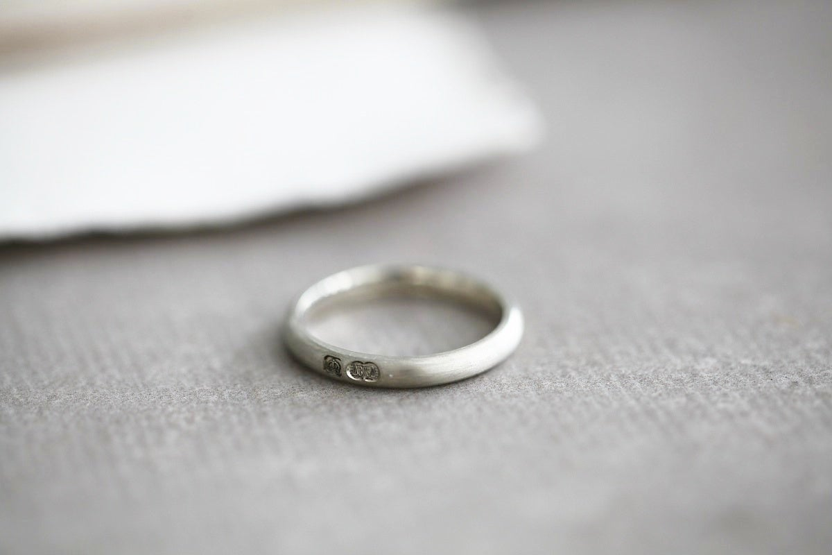 Image of 9ct white gold, 3mm matte finish ring
