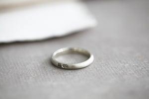 Image of 9ct white gold, 3mm matte finish ring