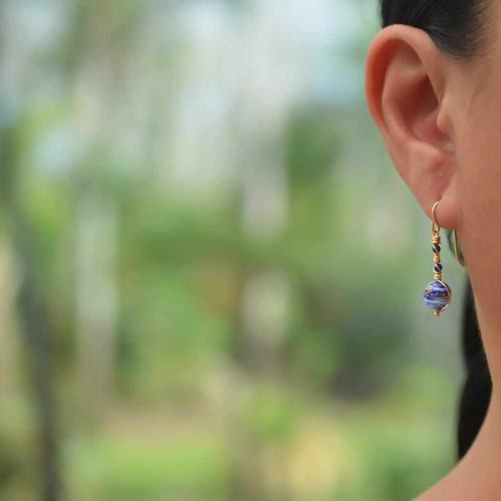 Image of Blue swirled glass earrings