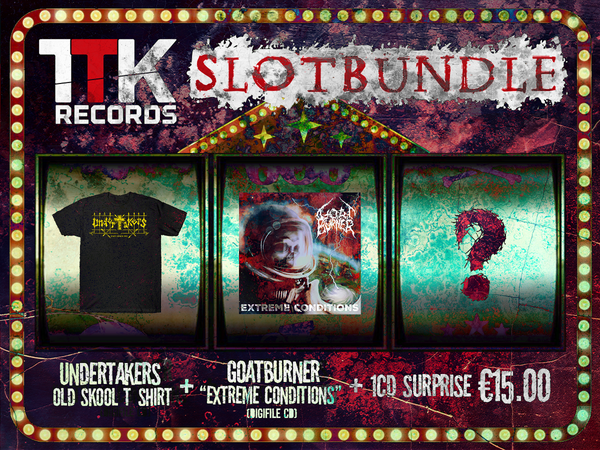 Image of SLOT-BUNDLE // JACKPOT 3: UNDERTAKERS (T-shirt) + GOATBURNER (CD)+ 1 CD Jolly Surprise