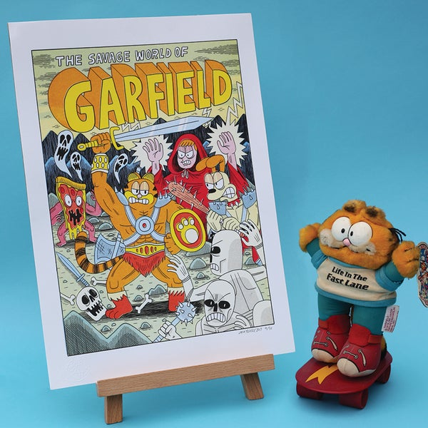 Image of Savage Garfield - A3 risograph print