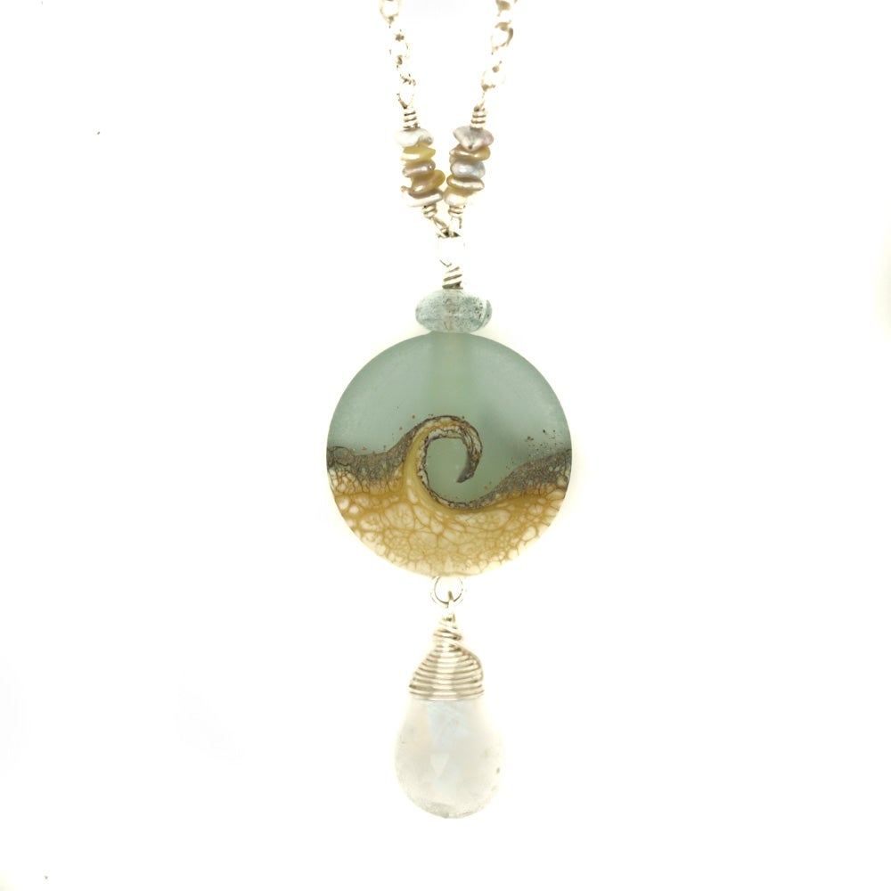 Image of Ocean wave necklace sterling silver