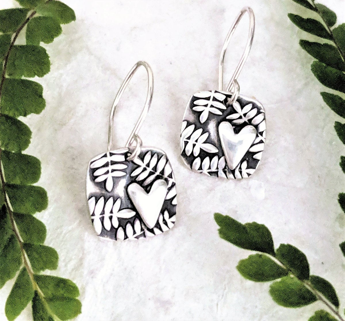 Image of Fern Heart Squares earrings