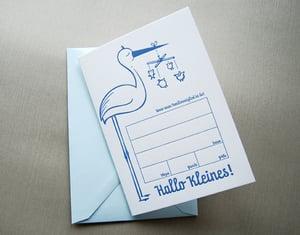 Image of Hallo Kleines! Storchenpost zur Geburt, Letterpress-Set