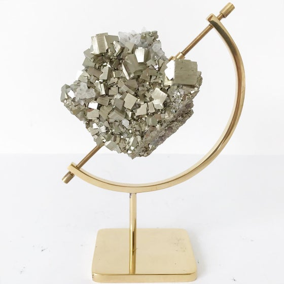 Image of  Peruvian Pyrite/Quartz no.65 + Brass Arc Stand