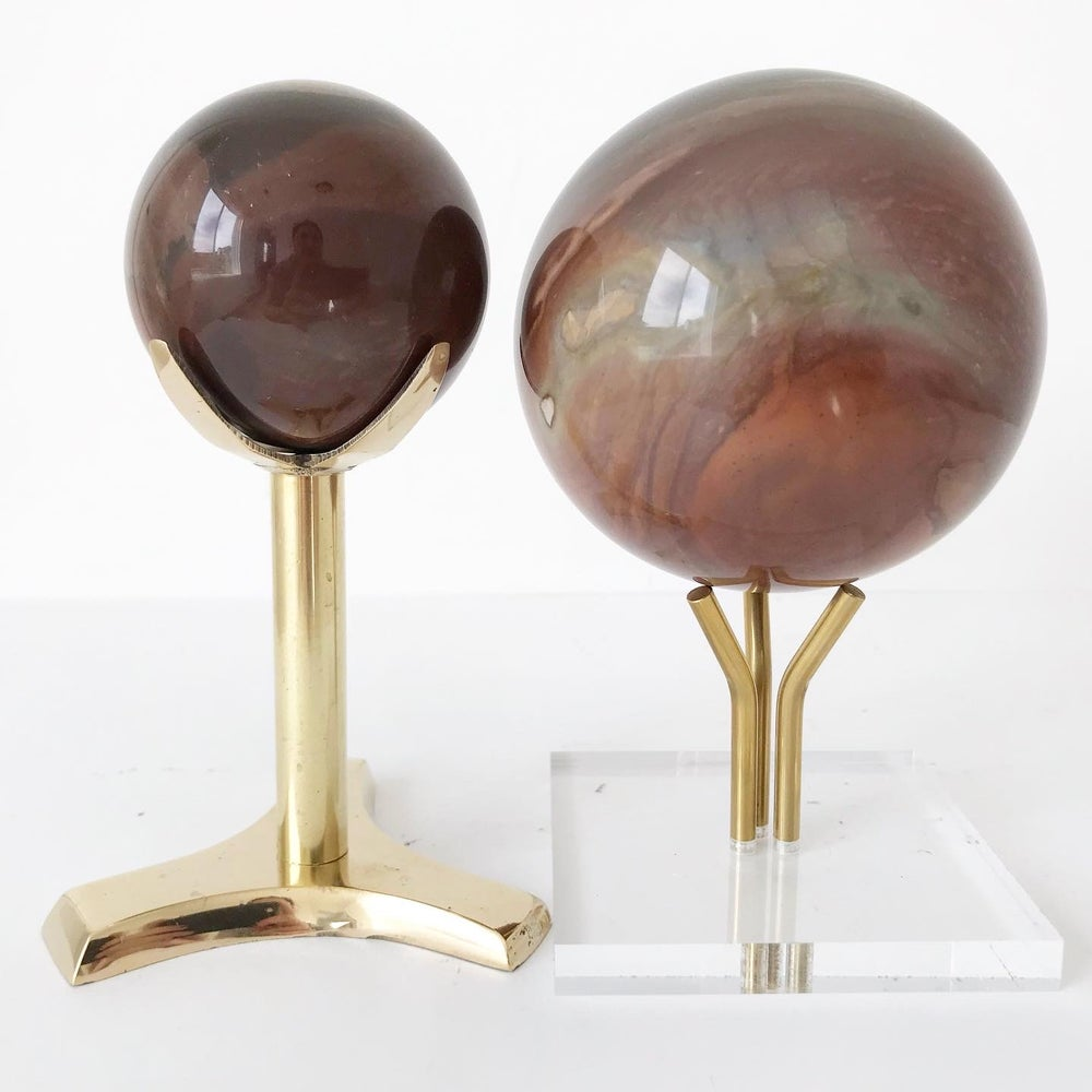 Image of Polychrome Jasper no.21 + Three Prong Lucite and Brass Stand