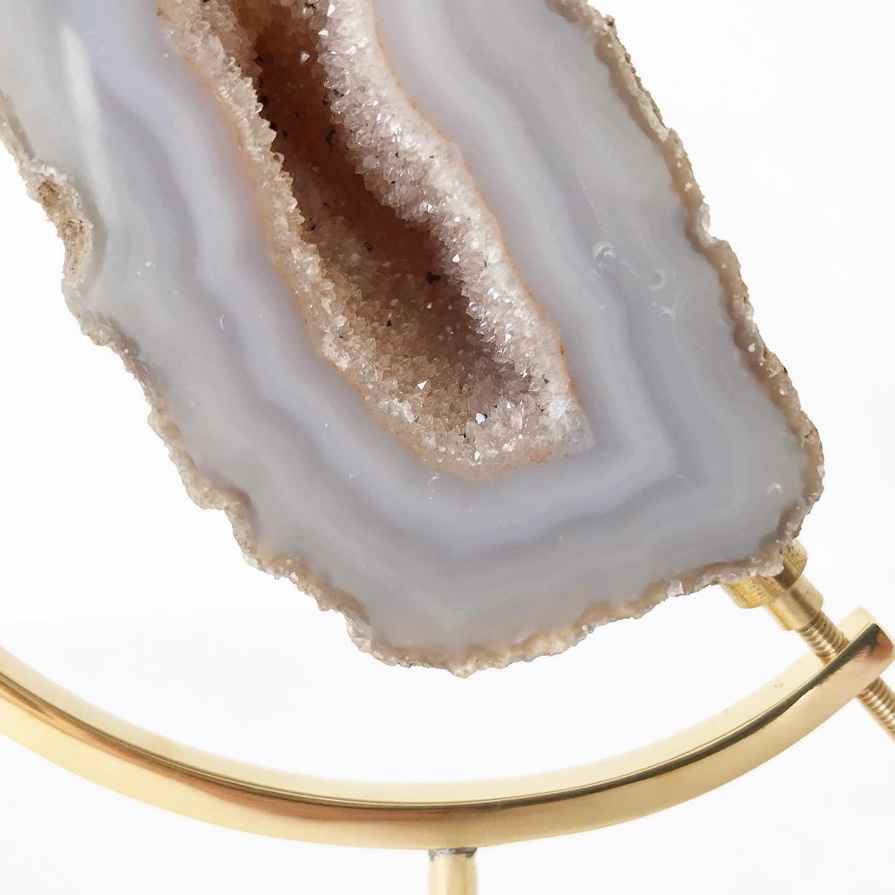 Image of Agate Geode no.25 + Brass Arc Stand