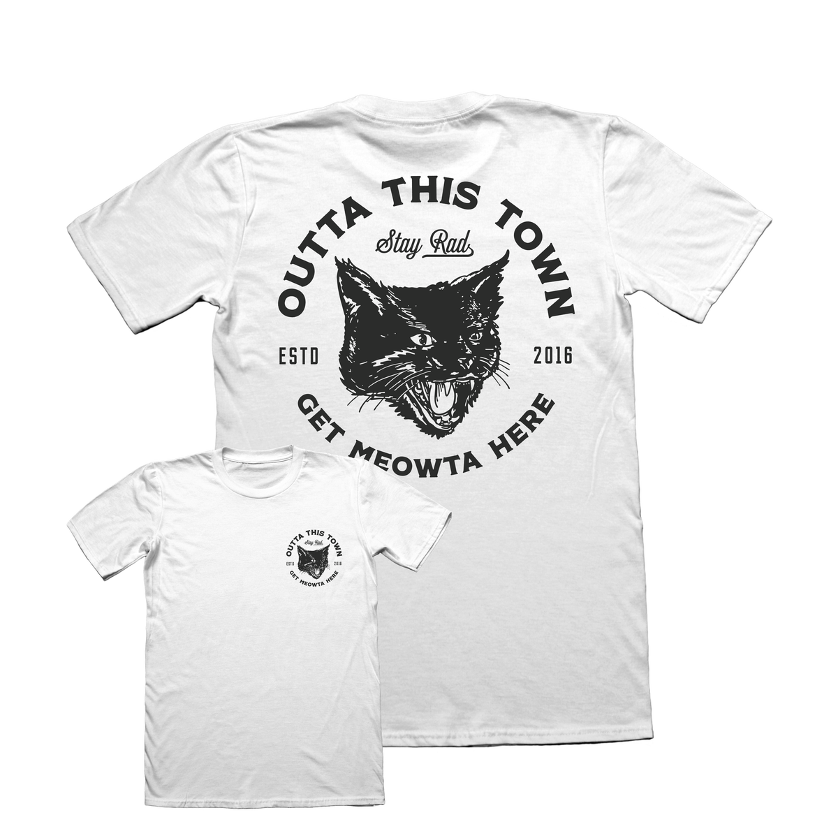 Image of Get Meowta Here T-shirt White