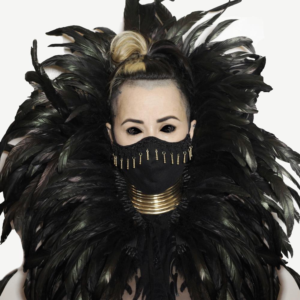 Image of Face mask with gold beaded fringe cotton stylish futuristic alien chic mask covering washable