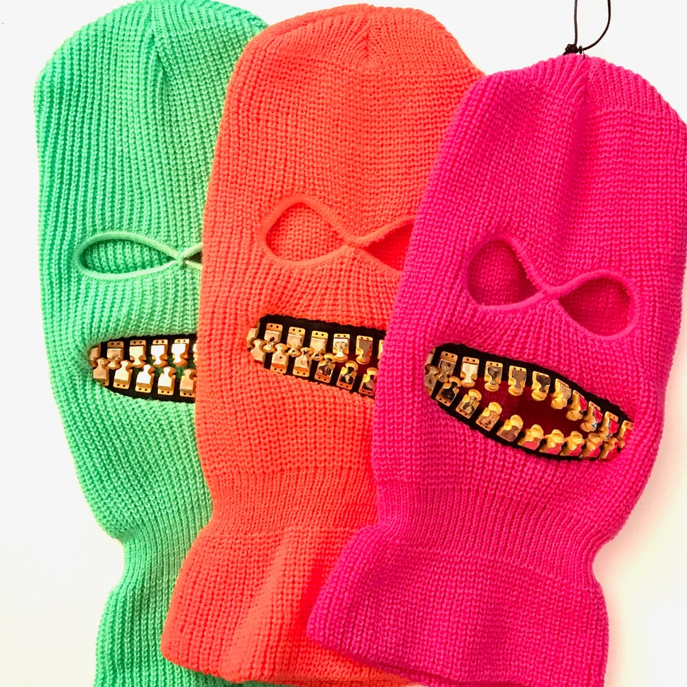 Image of Neon Ski mask with gold teeth zipper mouth zefstyle grill teeth face mask or hat