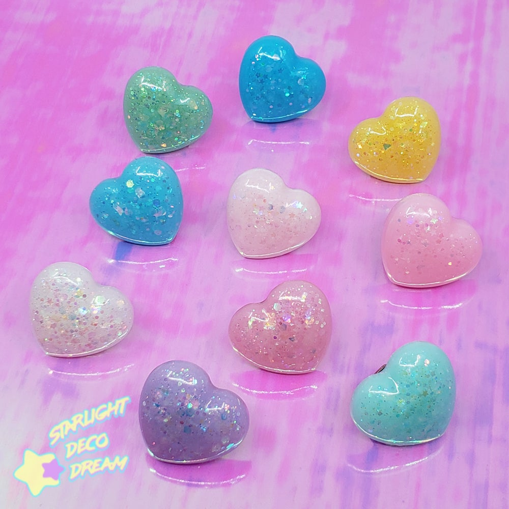 Image of Chubby Heart Glittery Resin Ring / Adjustable Size