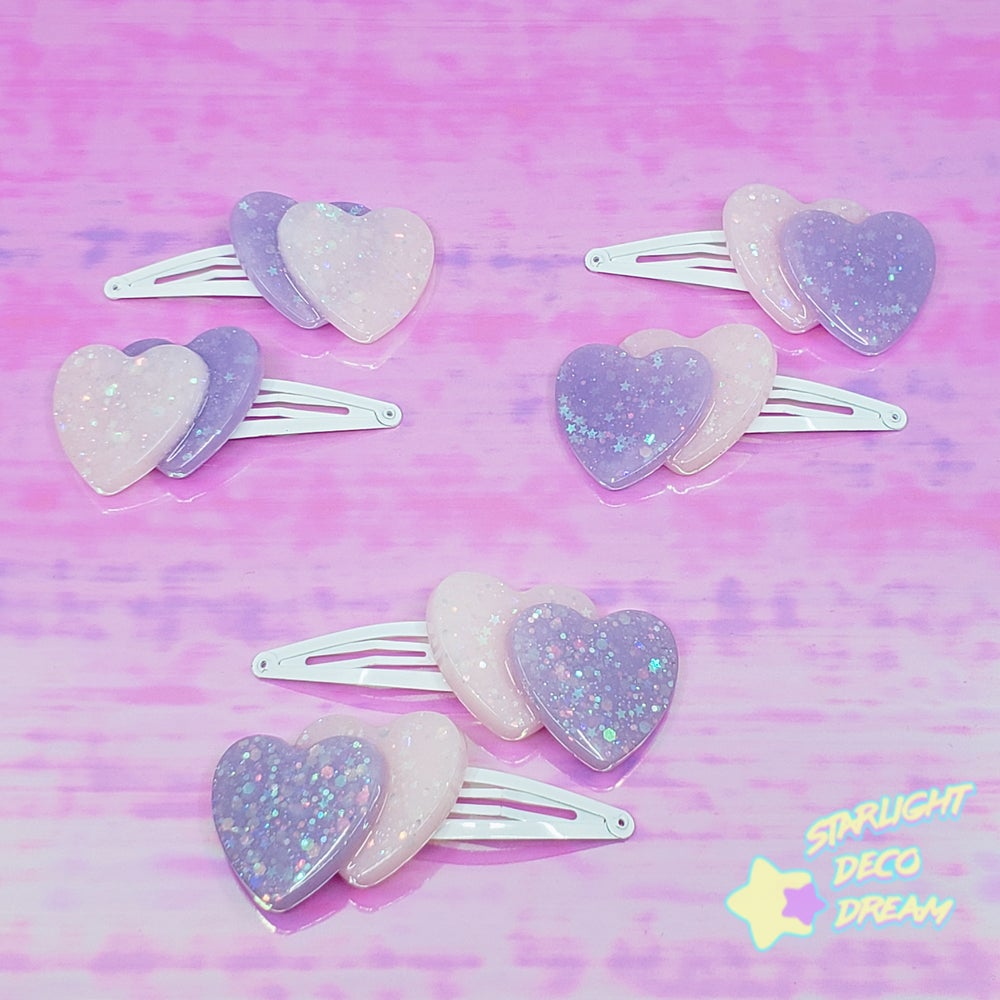 Image of Set of TWO Double Heart Hair Clips / Pink with Lavender Selection