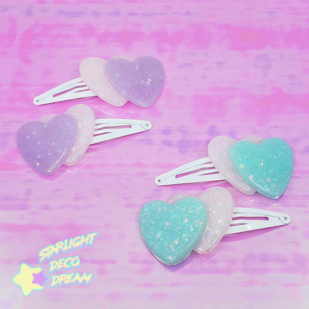 Image of B-GRADE Set of TWO Double Heart Hair Clips