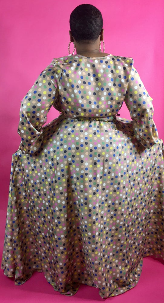 Image of Multi Colored Polka Dots Maxi Dress