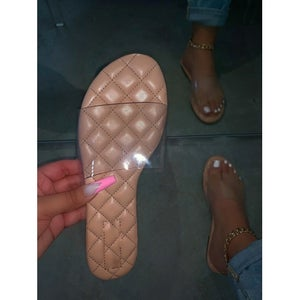 Image of Clear Strap Quilted Slide