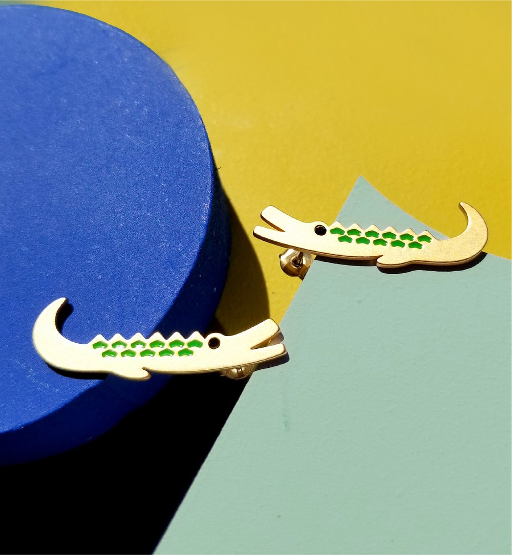 Crocodile brothers earrings - 18K gold plated Stainless steel
