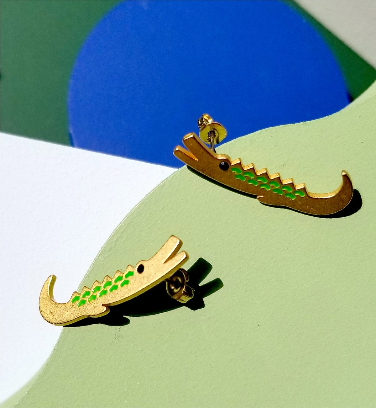 Image of Crocodile brothers earrings - 18K gold plated Stainless steel