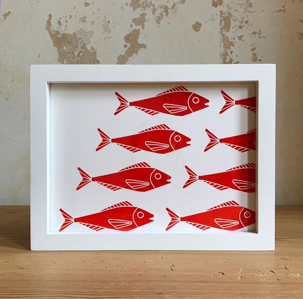 Image of Linoprint Red Fishes