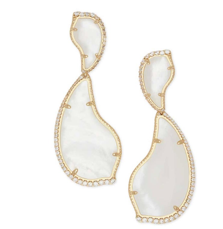 Image of NWT Kendra Scott Teddi 14k Gold Mother of Pearl Earrings