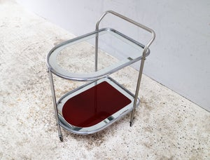 Image of 1950's Art Deco Italian glass drinks trolley